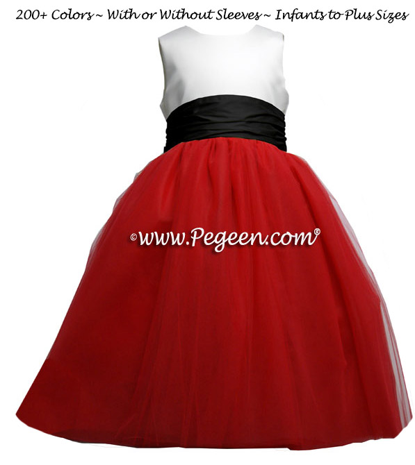 Christmas Red and  black and white tulle ballerina flower girl dresses - Degas style