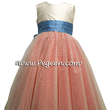 coral and silver metallic 10 layers of tulle flower girl dresses by pegeen