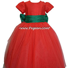 Emerald Green and Christmas Red holiday ballerina style Flower Girl Dresses with tulle