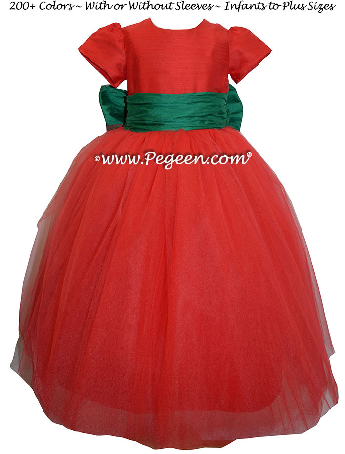 christmas red ballerina style FLOWER GIRL DRESSES with layers and layers of tulle