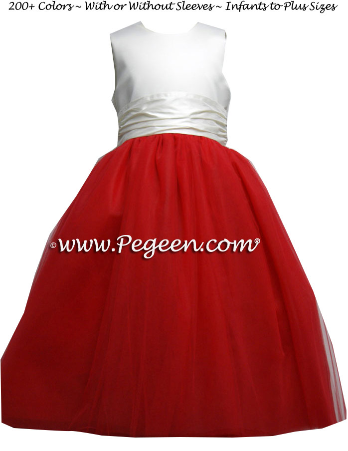 Red white & blue wedding theme - red tulle flower girl dresses