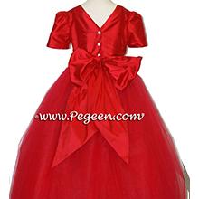 CHRISTMAS RED TULLE flower girl dresses