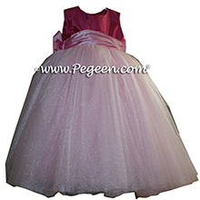 Rose pink and lipstick ballerina style FLOWER GIRL DRESSES with layers and layers of tulle