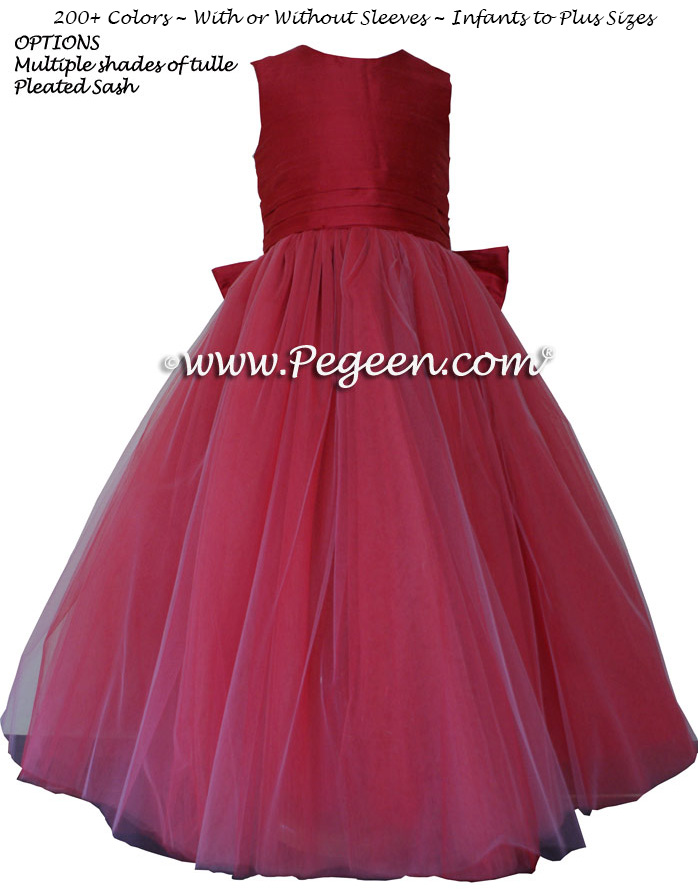 Flower Girl Dresses in Rouge (reddish-pink) and layers of tulle | Pegeen