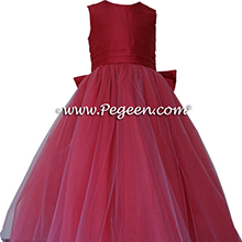 Rouge (reddish-pink) ballerina style FLOWER GIRL DRESSES with layers and layers of tulle