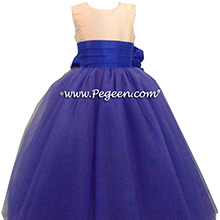 Sapphire Blue tulle with Bisque Custom Tulle ballerina style Flower Girl Dress from Pegeen Couture