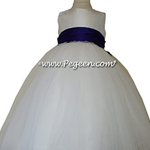 Antique White and Royal Purple tulle flower girl dresses