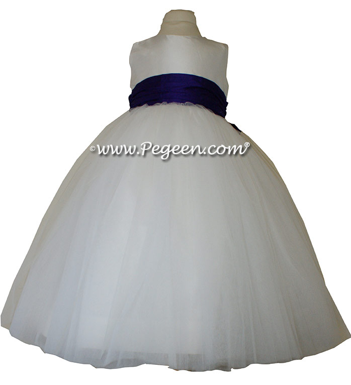 Antique White ballerina style Flower Girl Dresses with layers and layers of tulle