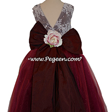 Flower Girl Dress in Ruby Red Silk and Glitter Tulle with aloncon lace