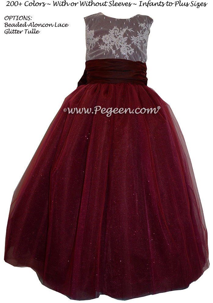Pegeen's Ruby Red silk and glitter Tulle FLOWER GIRL DRESSES with 10 layers of tulle