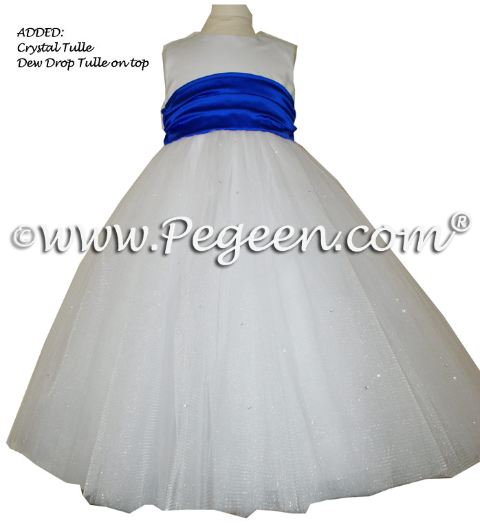 Sapphire Blue and Antique White ballerina style FLOWER GIRL DRESSES with layers and layers of tulle