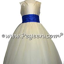 Saphire blue and white tulle flower girl dresses