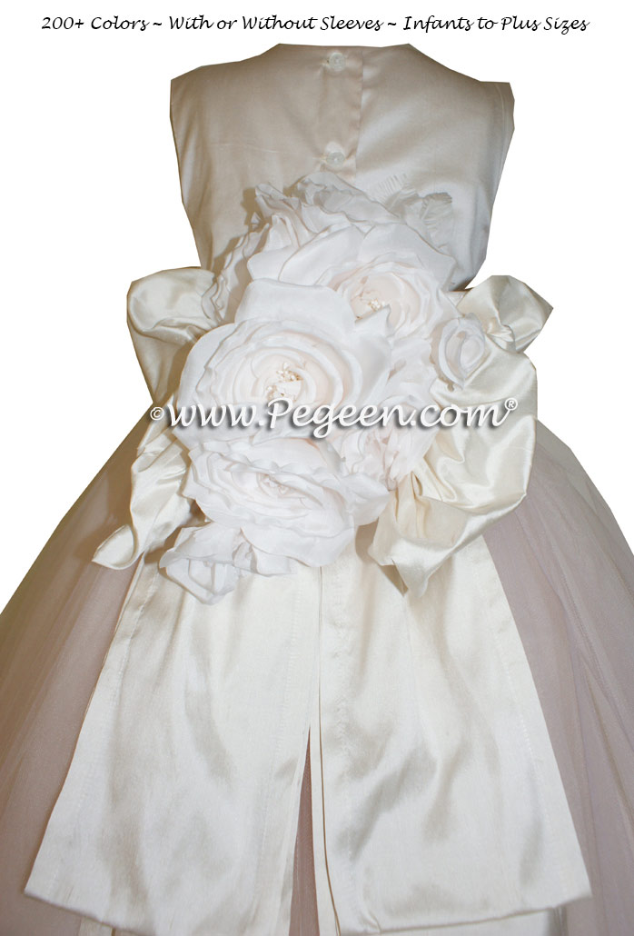 Shell Pink and White Tulle  metallic ballerina style FLOWER GIRL DRESSES with layers and layers of tulle