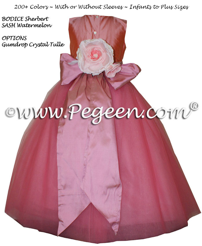 Sherbert and Watermelon (pink) flower girl dresses