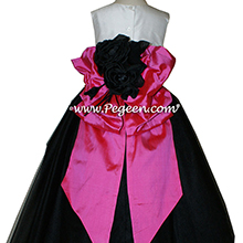 Flower Girl Dresses in Black, Shock Pink, Antique White Silk