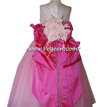 Shock (Hot Pink) and Peony Pink ballerina style Flower Girl Dresses with layers and layers of tulle