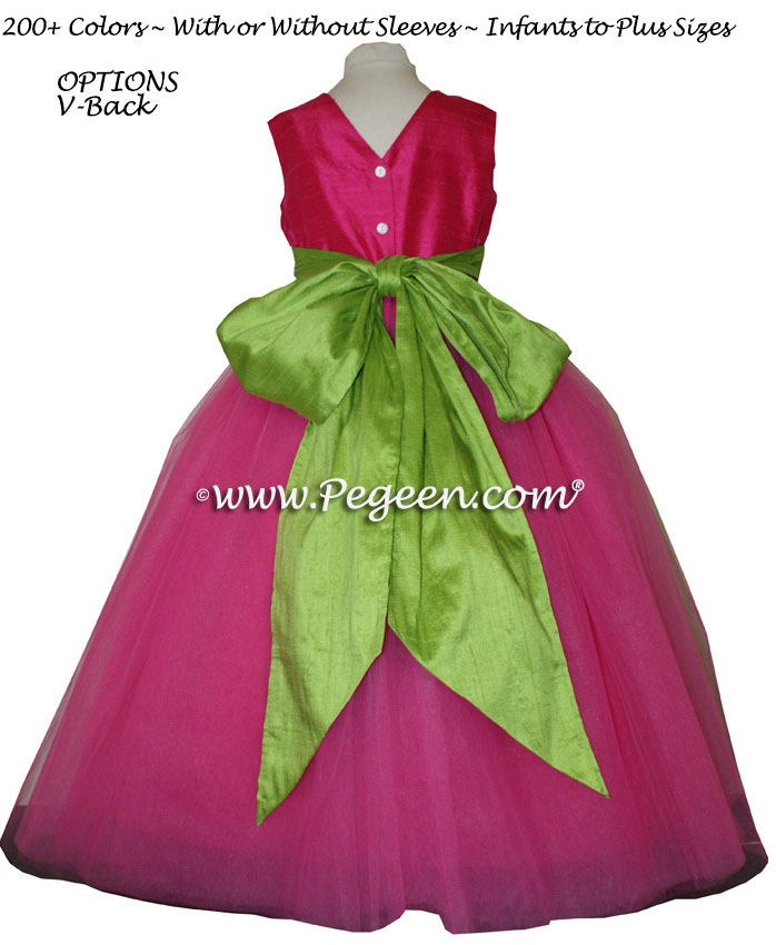 Shock (Hot Pink) and Apple Green ballerina style FLOWER GIRL DRESSES with layers and layers of tulle