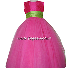 Shock (Hot Pink) and Apple Green ballerina style Flower Girl Dresses with layers and layers of tulle from Pegeen Couture