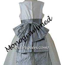 Monogrammed Silver gray and new ivory Flower Girl Dresses - Silver gray and new ivory Flower Girl Dresses - PEGEEN