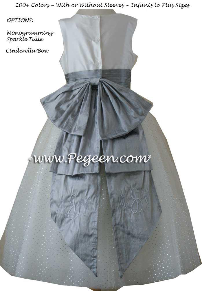 Gray and white silk monogrammed flower girl dresses in silk