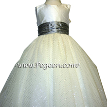 Silver metallic tulle flower girl dresses
