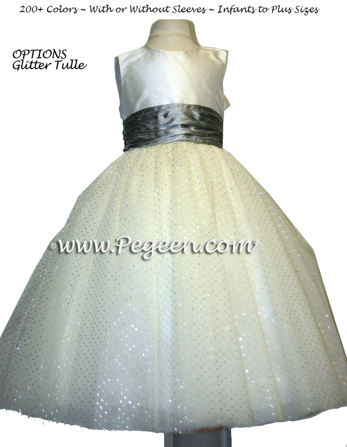 Silver and Ivory ballerina style FLOWER GIRL DRESSES with layers and layers of tulle