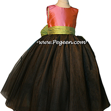 FLOWER GIRL DRESSES with layers and layers of tulle in Watermelon Pink, Pewter Gray and Sprite Green