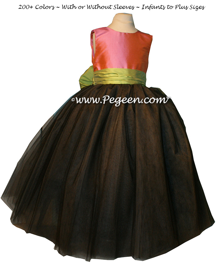 Watermelon Pink, Pewter Gray and Sprite Green tulle ballerina FLOWER GIRL DRESSES - Degas style