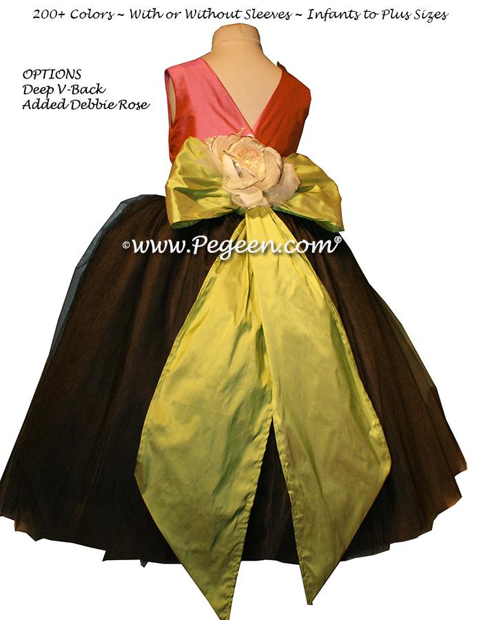 Watermelon Pink, Pewter Gray and Sprite Green tulle ballerina FLOWER GIRL DRESSES - Degas style