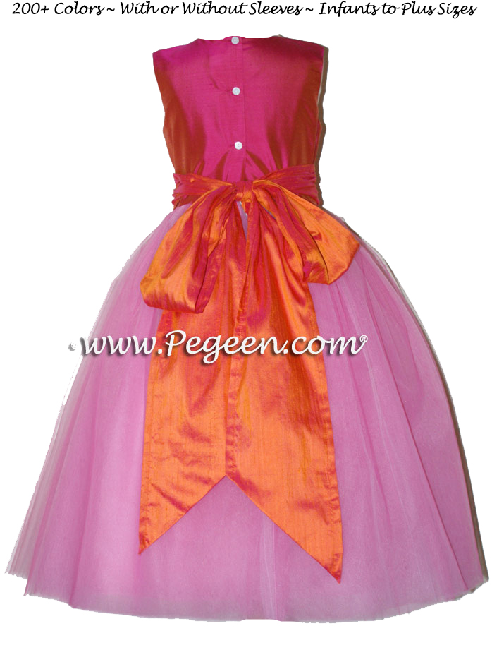 Sorbet pink and mango orange ballerina style FLOWER GIRL DRESSES with layers and layers of tulle