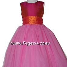 SORBET (HOT PINKISH ORANGE) AND MANGO (ORANGE) tulle flower girl dresses