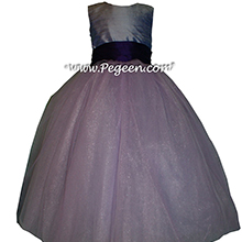 Lilac and dark purple ribbon ballerina style Flower Girl Dresses