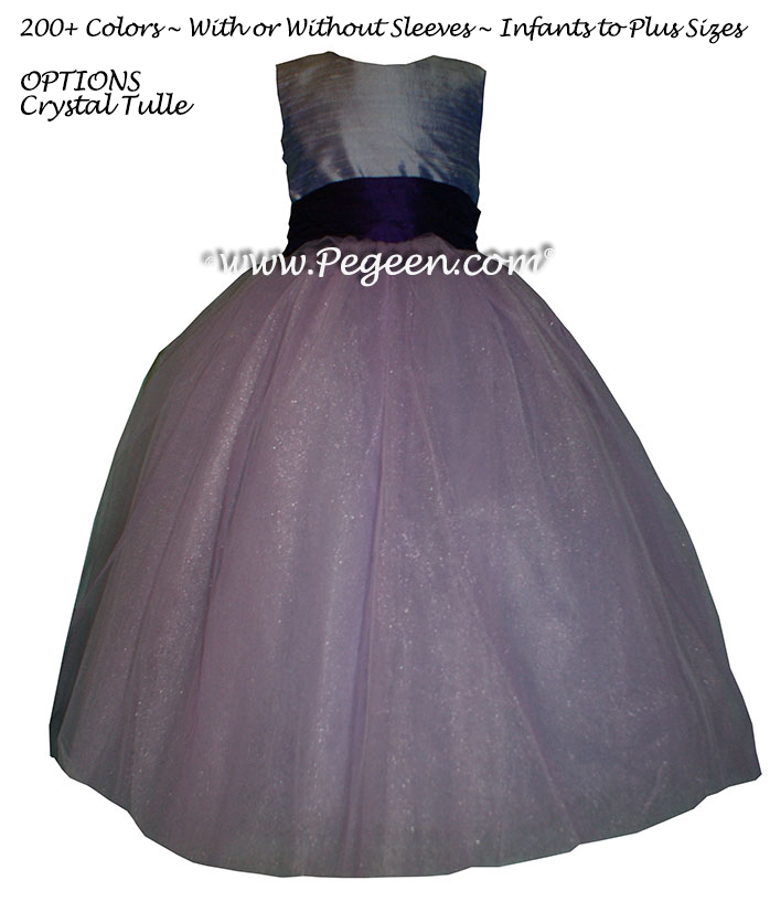 Flower Girl Dress in Lilac and Dark Plum with Deep Plum Sash | Pegeen