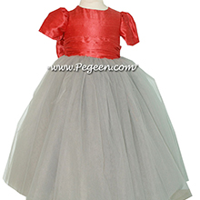 Spice and morning gray tulle silk flower girl dresses
