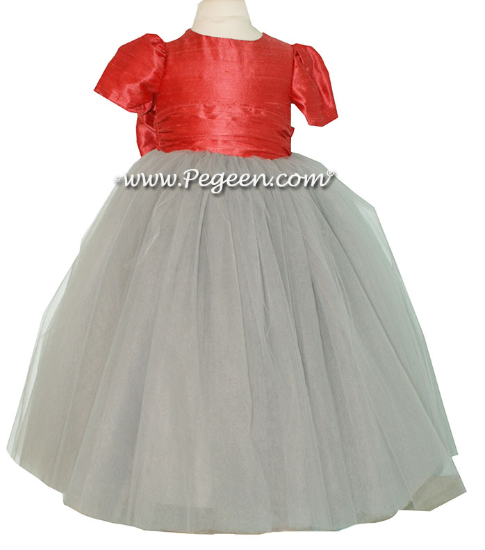 Flower Girl Dresses Morning Gray and Coral Spice ballerina style with tulle | Pegeen