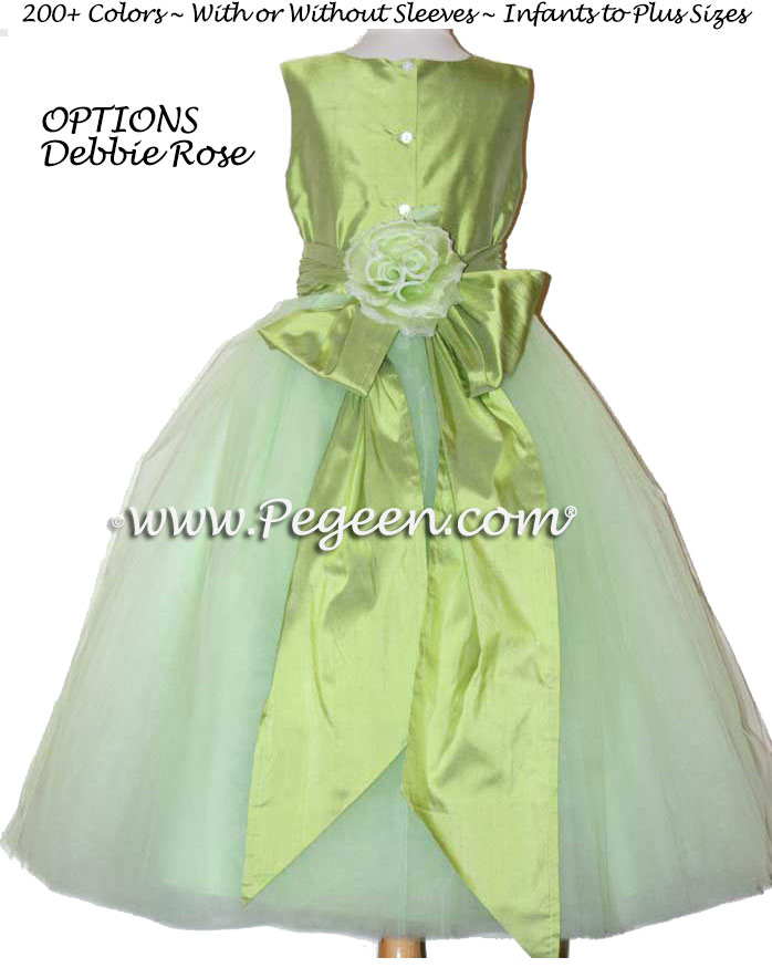 ballerina style FLOWER GIRL DRESSES in sprite green with layers and layers of tulle