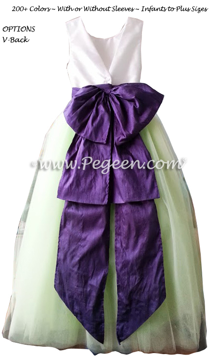 Flower Girl Dresses with Tulle in Sprite Green and Royal Purple Silk | Pegeen