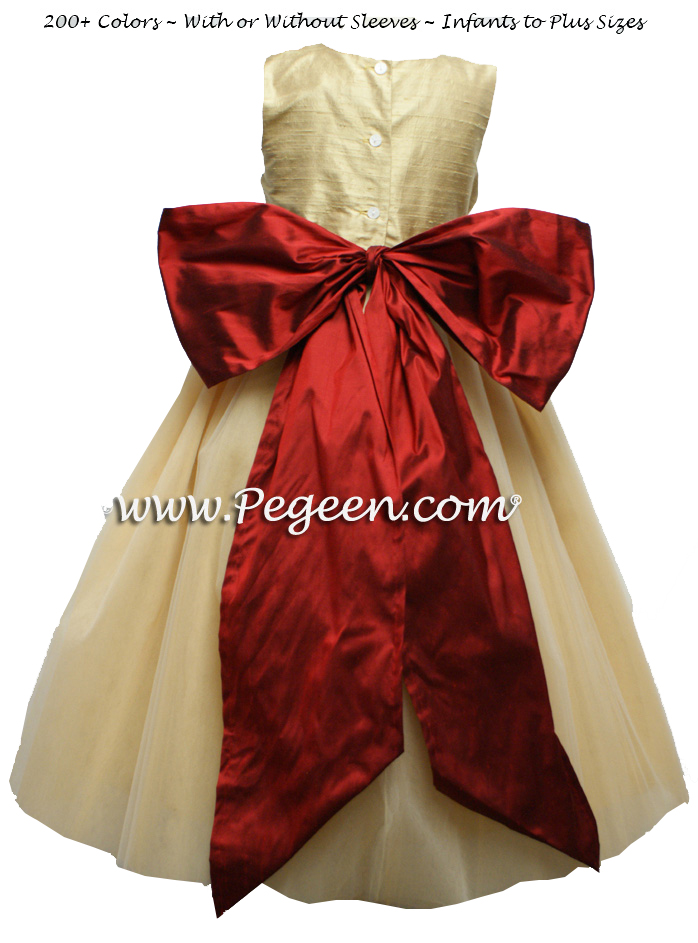 Flower Girl Dress in Claret Red and Spun Gold Couture Style 402 Holiday | Pegeen
