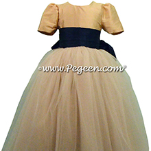 Navy Blue and Spun Gold ballerina style FLOWER GIRL DRESSES with tulle