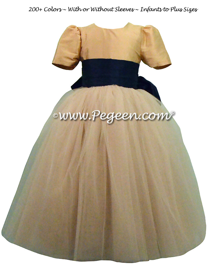 Pegeen's Navy Blue and Spun Gold and champagne shades of silk and Tulle Degas Style FLOWER GIRL DRESSES with 10 layers of tulle