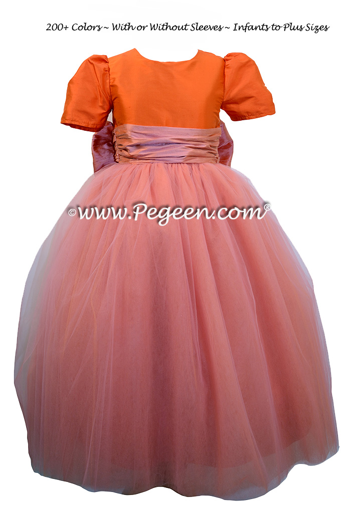 Carrot Orange and Coral Roseballerina style FLOWER GIRL DRESSES with layers and layers of tulle