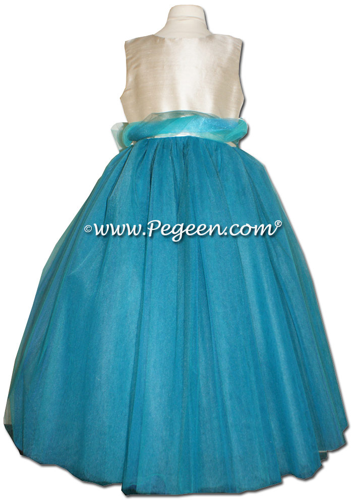 Bermuda and Summer Tan White BLUE ballerina style FLOWER GIRL DRESSES with layers and layers of tulle