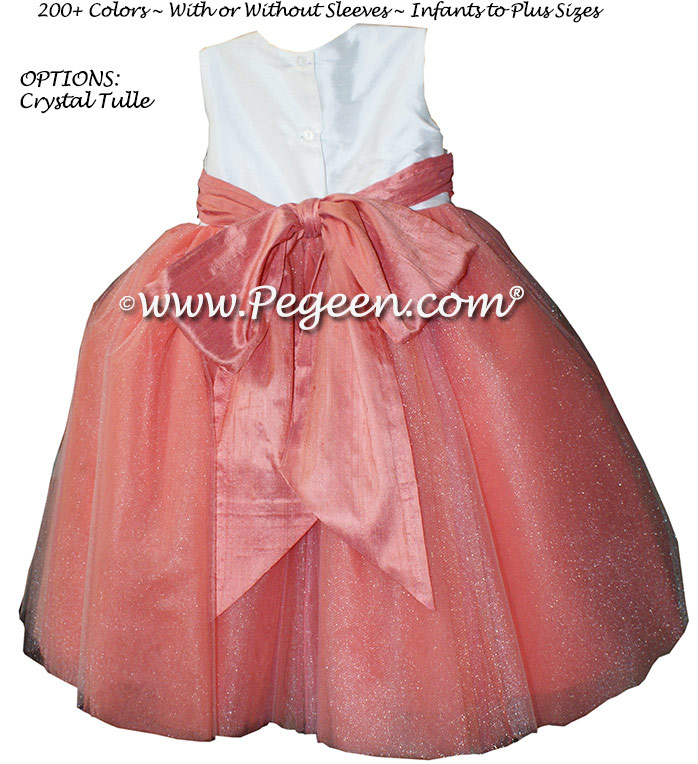 Pegeen's Sunset and Antique White and orange shades of silk and Tulle Degas Style FLOWER GIRL DRESSES with 10 layers of tulle