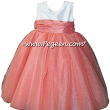 Sunset and Antique White ballerina style Flower Girl Dress with Crystal Tulle