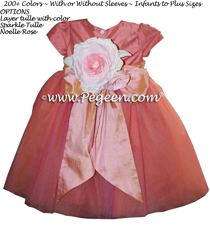 Pegeen's Sunset and Icing and orange shades of silk and Tulle Degas Style FLOWER GIRL DRESSES with 10 layers of tulle