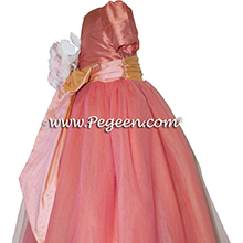 Apricot and Icing ballerina style Flower Girl Dresses with layers and layers of tulle