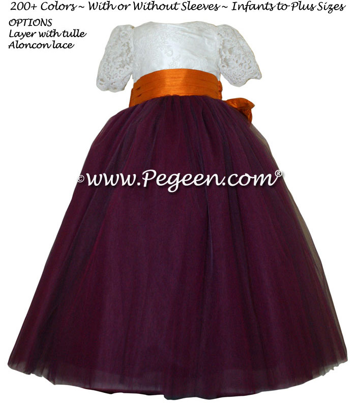 Tangerine Orange and New Ivory ALONCON LACE CUSTOM FLOWER GIRL DRESSES WITH TULLE