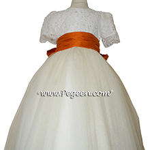 Tangerine (Orange)and New Ivory tulle couture flower girl dress