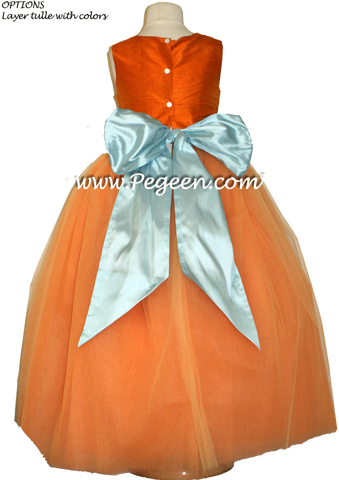 Silk Flower Girl Dress in Tangerine Orange and Spa Style 402 | Pegeen