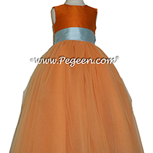 Tangerine and Spa Blue Tulle Flower Girl Dresses from Pegeen Couture Style 402